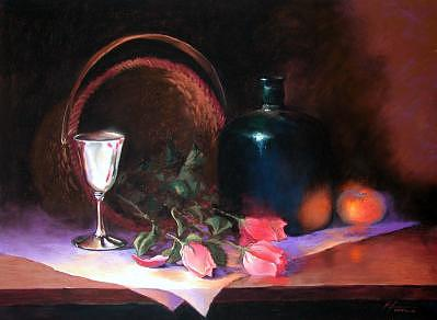 Silver Cup Painting - Wedding Cup by Virginia Larrea LaTourrette