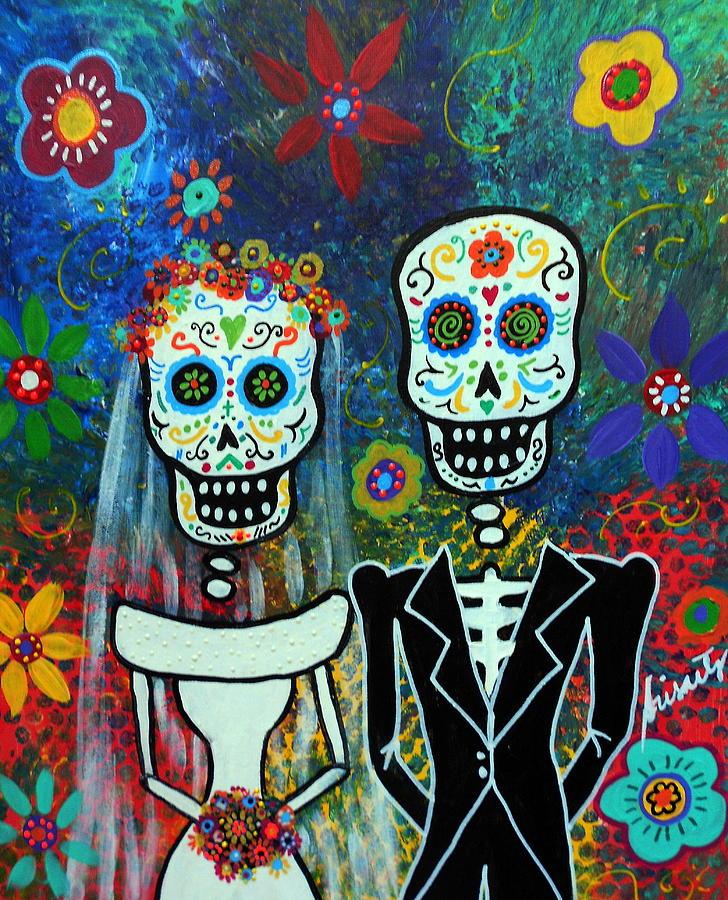 Bride Painting - Wedding Muertos by Pristine Cartera Turkus