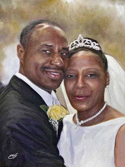 Bride Painting - Wedding Portrait by William Everly