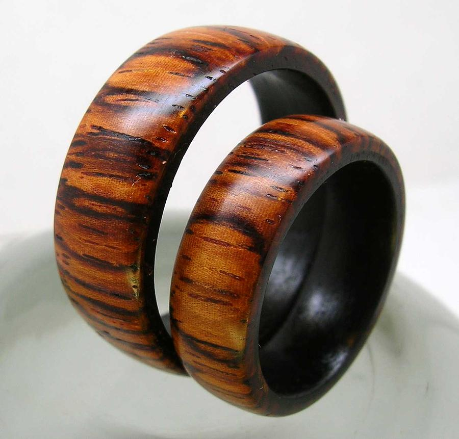 Ring Jewelry - Wedding Rings In Rosewood And Ebony by Keith Krautle
