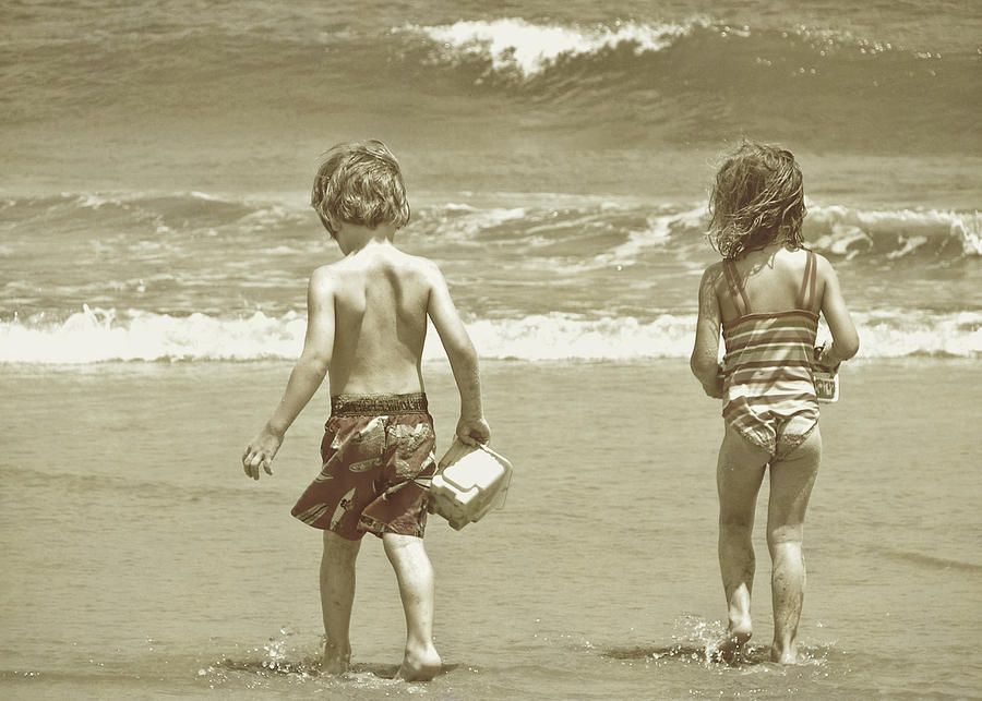 Beach Photograph - Wee Beachcombers by JAMART Photography