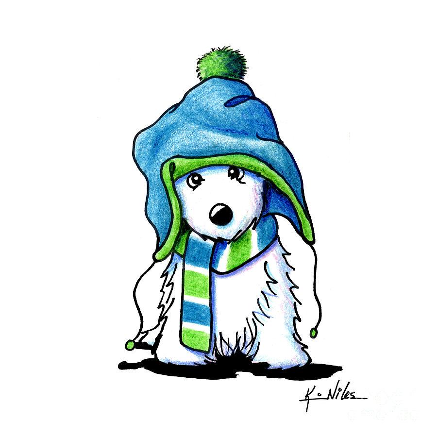 Westie Drawing - Wee Winter Westie by Kim Niles