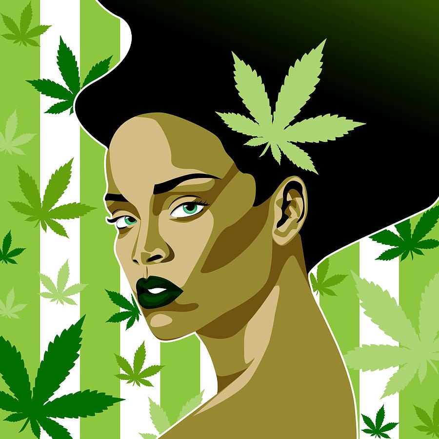 Rihanna Weed Theme Digital Art by Keidi Sel