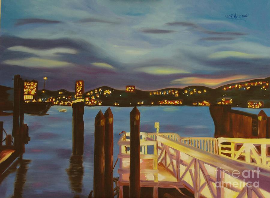 New York Painting - Weehawken From Pier 78 by Milagros Palmieri
