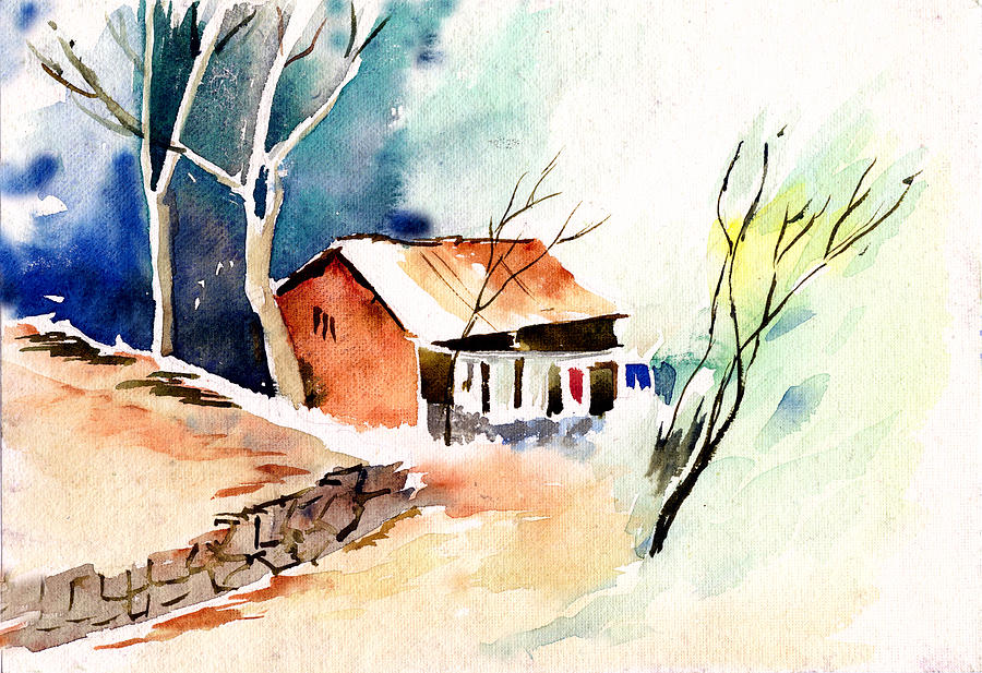 Nature Painting - Weekend House by Anil Nene