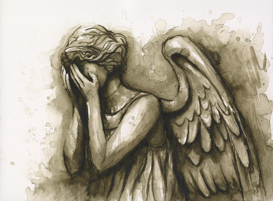Angel Painting - Weeping Angel by Olga Shvartsur