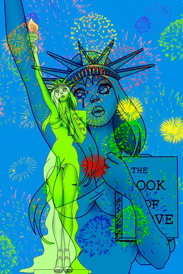 Pin Painting - Weeping Liberty by Lynn Rider
