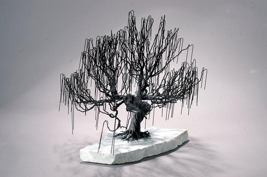 Weeping Willow Wire Tree Sculpture Sculpture By Mark Golomb