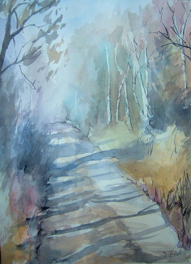 Watercolor Painting - Weg Zum Entenweiher by Johannes Baul