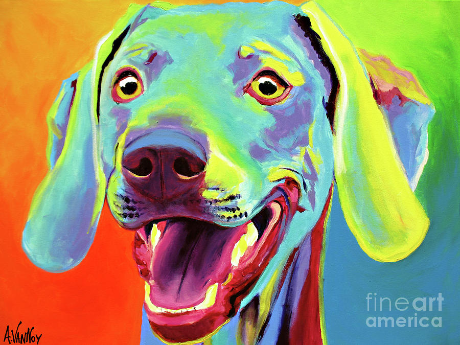 Dog Painting - Weimaraner - Taffy by Alicia VanNoy Call