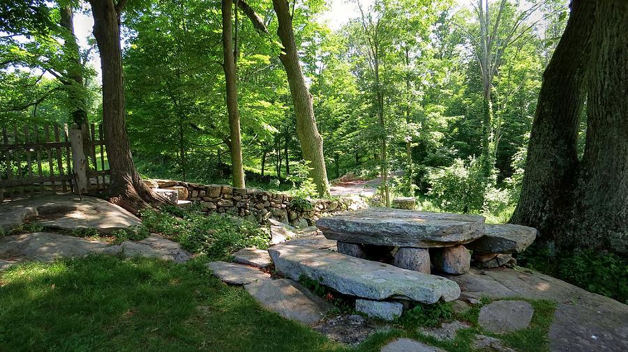 Weir Farm Stone Picnic Table Photograph By Jonathan Sabin - Stone picnic table