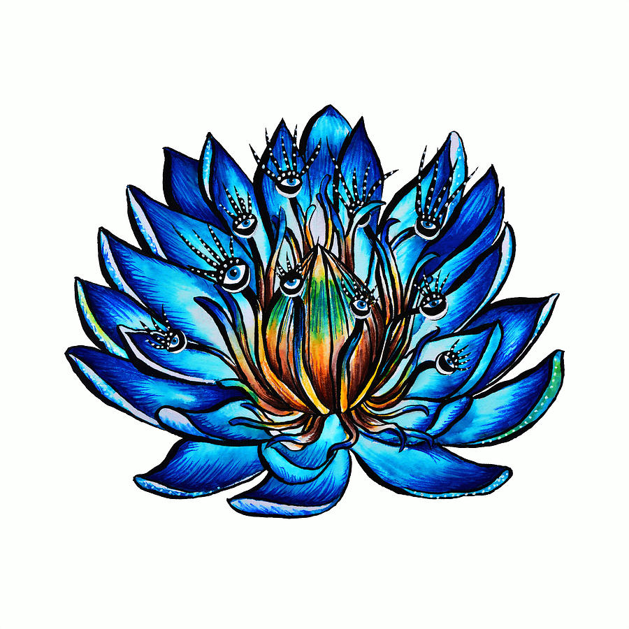 Weird Multi Eyed Blue Water Lily Flower Drawing By Boriana Giormova