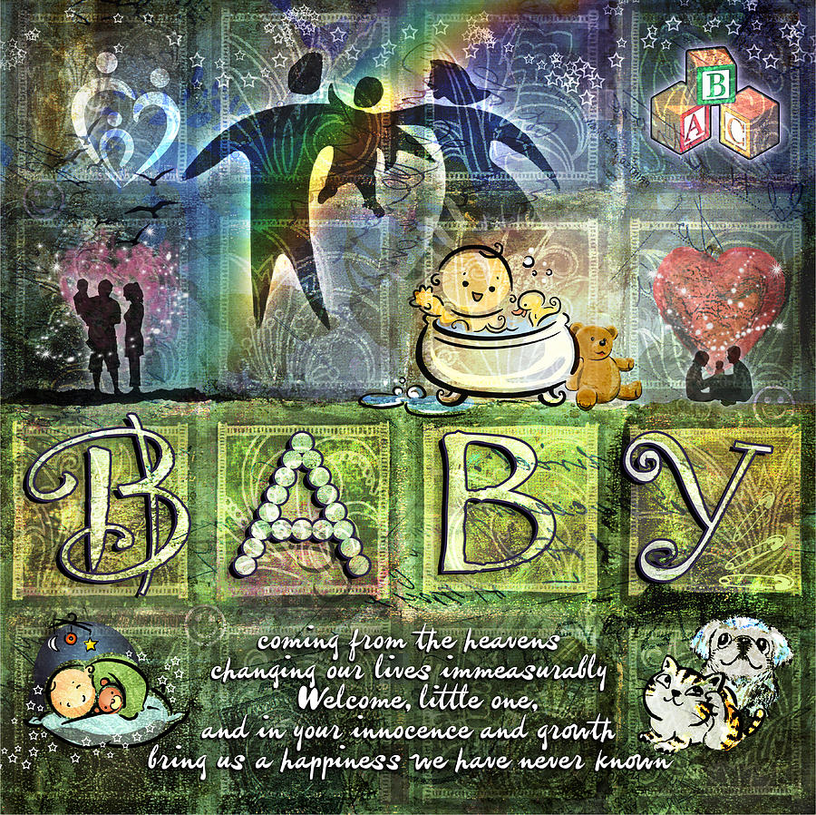 Baby Digital Art - Welcome Baby by Evie Cook