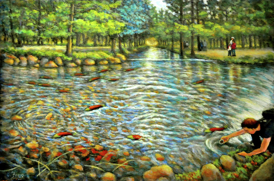 Salmon Run Painting - Welcome Home 2 by Eileen  Fong