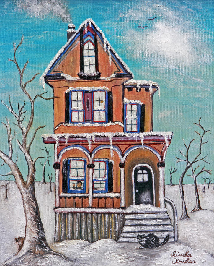 Winter Scene Painting - Welcome Home by Linda Krider Aliotti