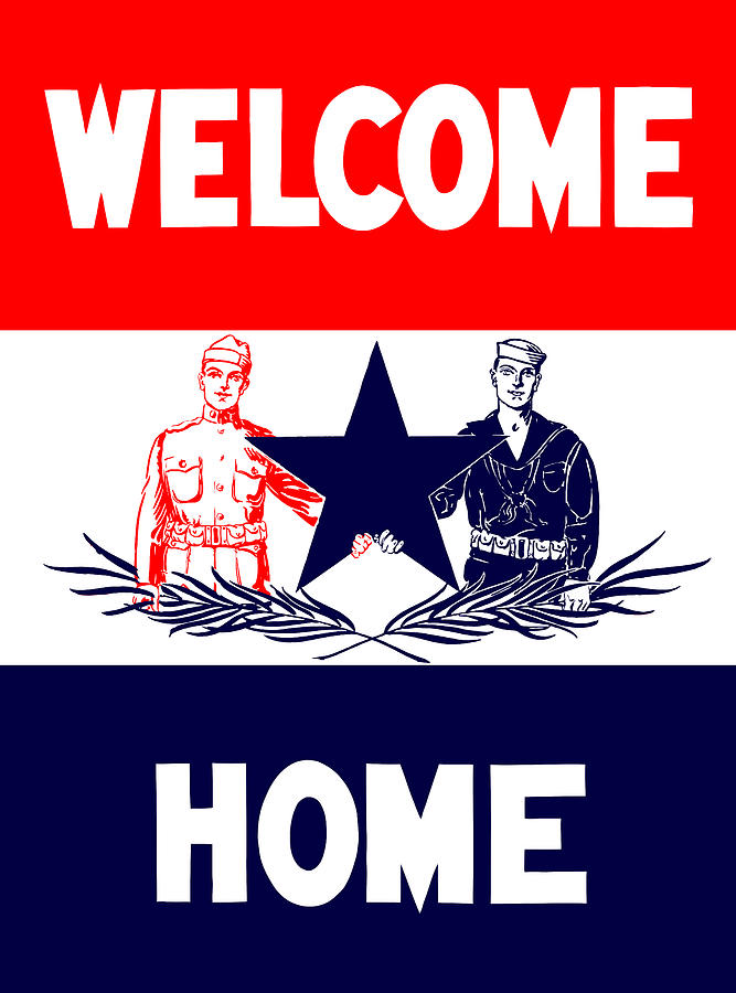 Ww1 Mixed Media - Vintage Welcome Home Military Sign by War Is Hell Store