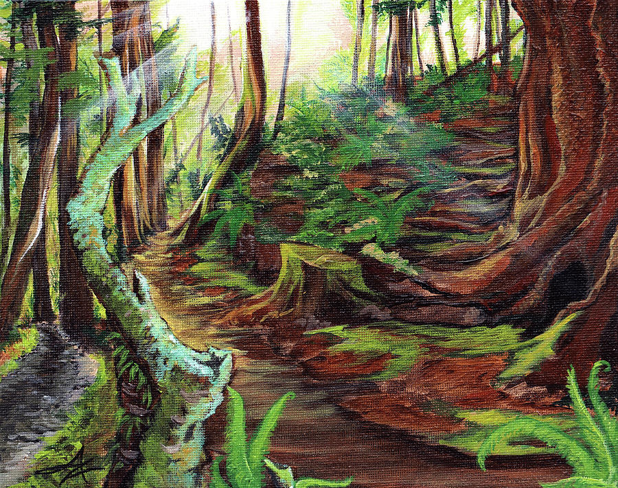 Redwoods Painting - Welcome Paths by April Zaidi