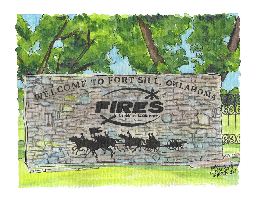 Welcome Sign Fort Sill by Betsy Hackett