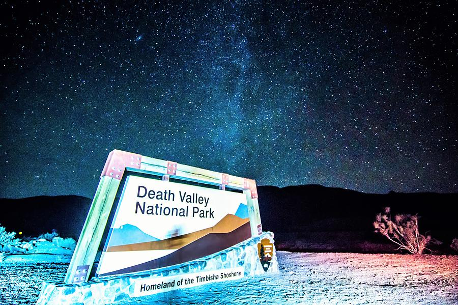 Park Photograph - Welcome Sign To Death Valley National Park California At Night by Alex Grichenko