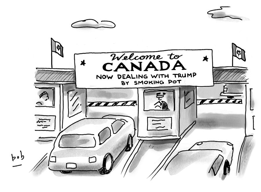 Welcome To Canada Drawing by Bob Eckstein