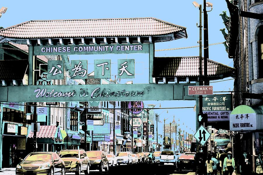 Chinatown Photograph - Welcome To Chinatown Sign Blue by Marianne Dow