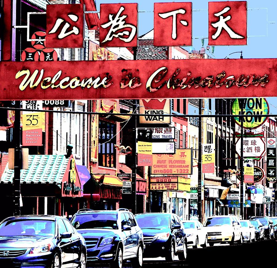 Chinatown Photograph - Welcome To Chinatown Sign Red by Marianne Dow