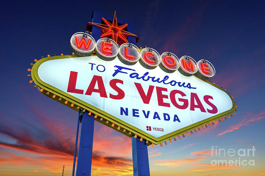 Welcome To Las Vegas Sign At Dawn Wide Photograph By Aloha Art