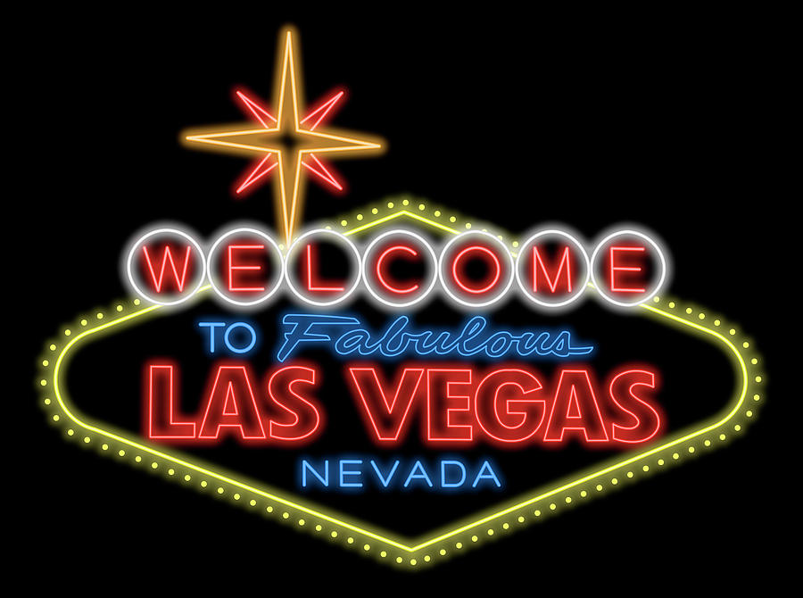 Las Digital Art - Welcome To Las Vegas Sign Digital Drawing Night by Ricky Barnard