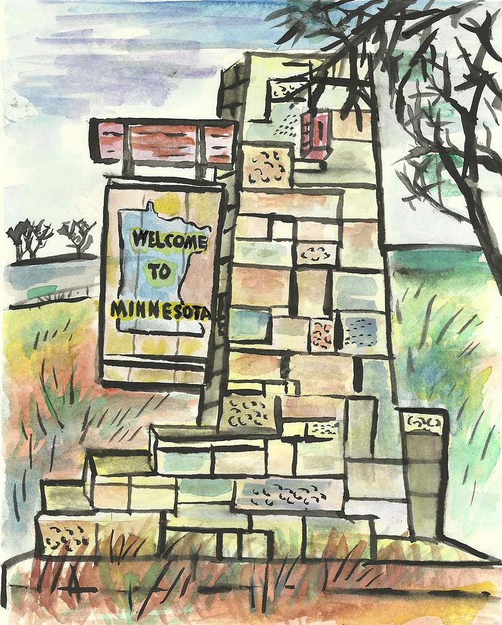 Minnesota Painting - Welcome To Minnesota by Matt Gaudian