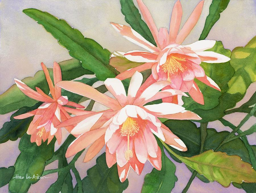 Welcome to Spring - Epiphyllum Watercolor by Hao Aiken