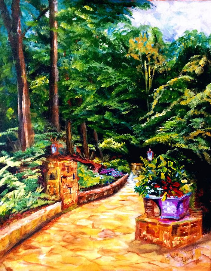 Garden Entrance Painting - Welcome To The Garden by Linda Taylor-Hurt