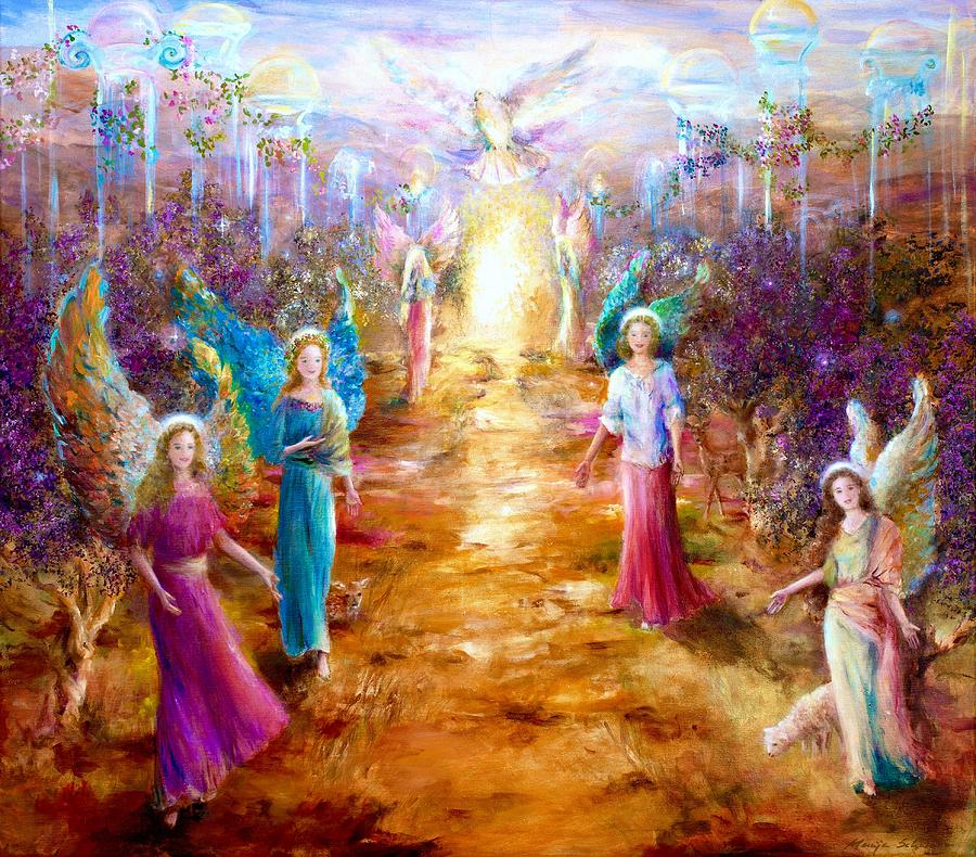 Angels Painting - Welcome To The Light by Marija Schwarz