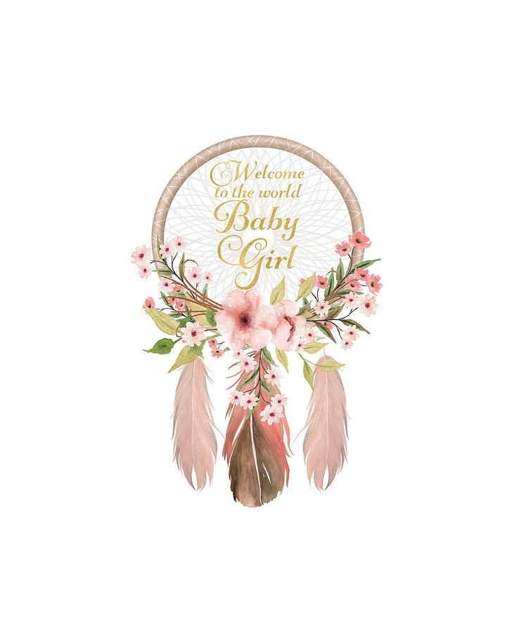 Welcome To The World Baby Girl Dreamcatcher Digital Art By