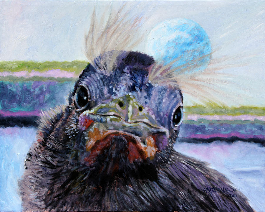 Baby Bird Painting - Welcome To The World by John Lautermilch