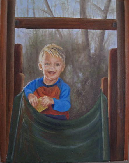 Oil On Canvas Painting - Welcome To Tylers Playhouse by Cindy Hall