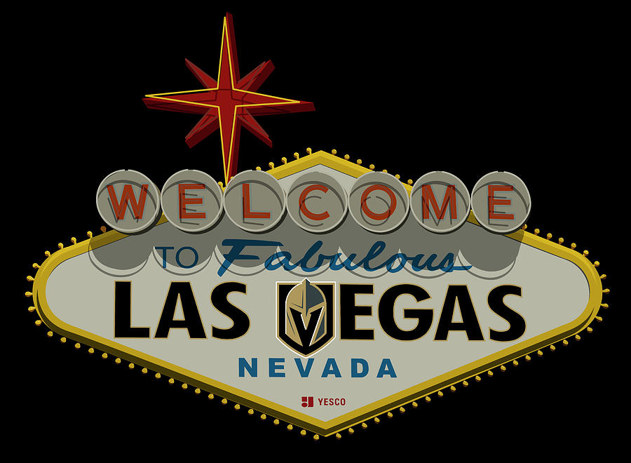 Golden Knights Photograph - Welcome To Vegas Knights Sign Digital Drawing by Ricky Barnard