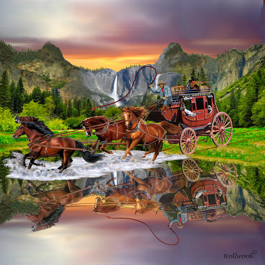 Paintings (Originals) For Sale | Stage to Denver | ArtsyHome  |Large Western Stagecoach Art