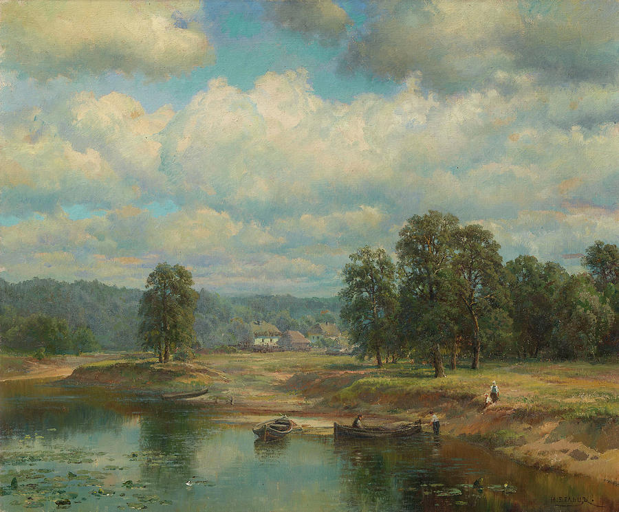 Nature Painting - Weltz Ivan 1866-1926 By The River by Weltz Ivan