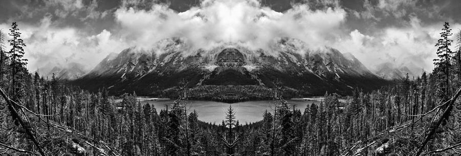 Wenatchee National Forest Black And White Reflection Digital Art
