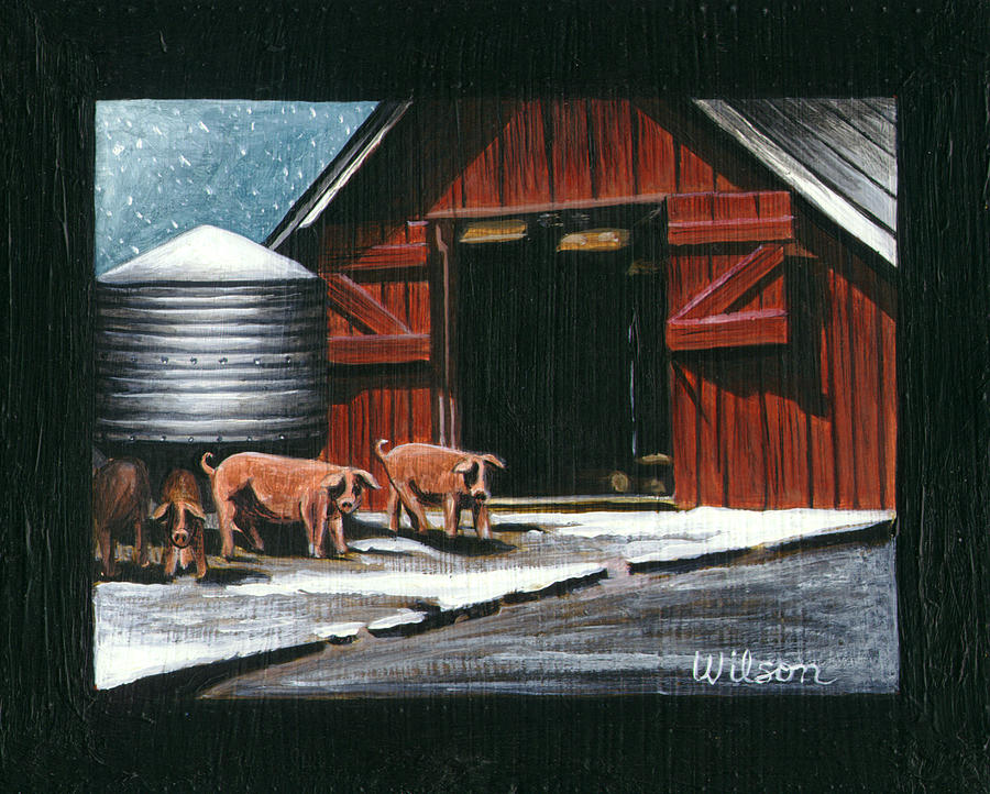 Farm Animals Painting - Wenger Barn by Carol Wilson