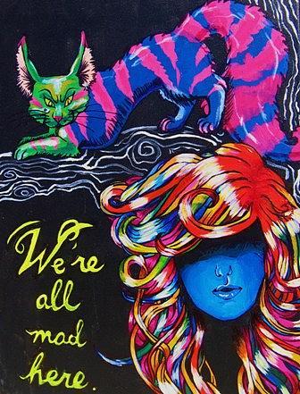 Alice In Wonderland Painting - Were All Mad Here. by Jessica Pedersen