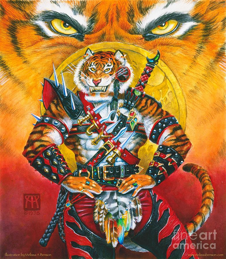 Fantasy Painting - Werecat Warrior by Melissa A Benson