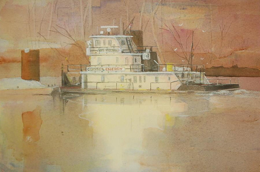 Barge Painting - Wes McDonald by Robert Yonke