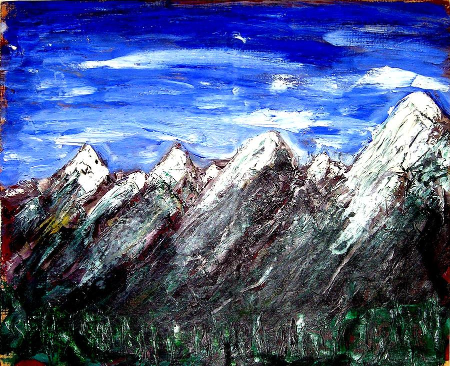 Mountains Painting - Wes Mountains by Lee Gallaher