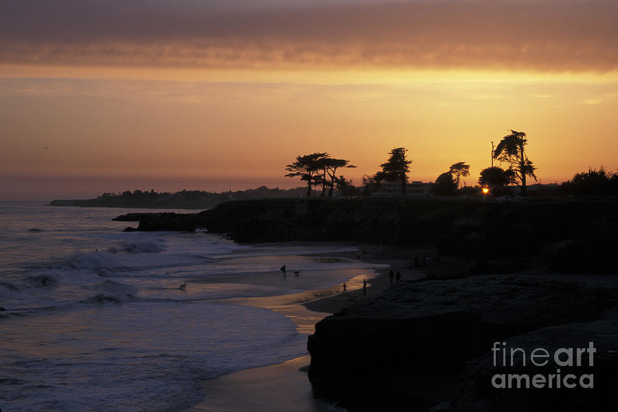 Santa Cruz Photograph - West Cliff At Sunset by Stan and Anne Foster