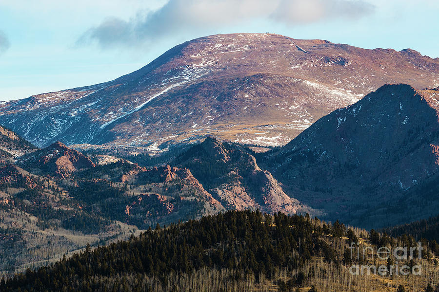 Pikes Peak Photograph - West Face of Pikes Peak in Winter by Steven Krull