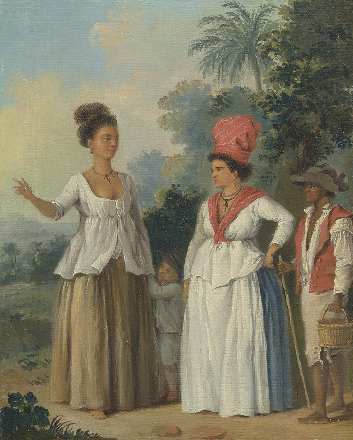 Italian Painters Painting - West Indian Women Of Color, With A Child And Black Servant by Agostino Brunias