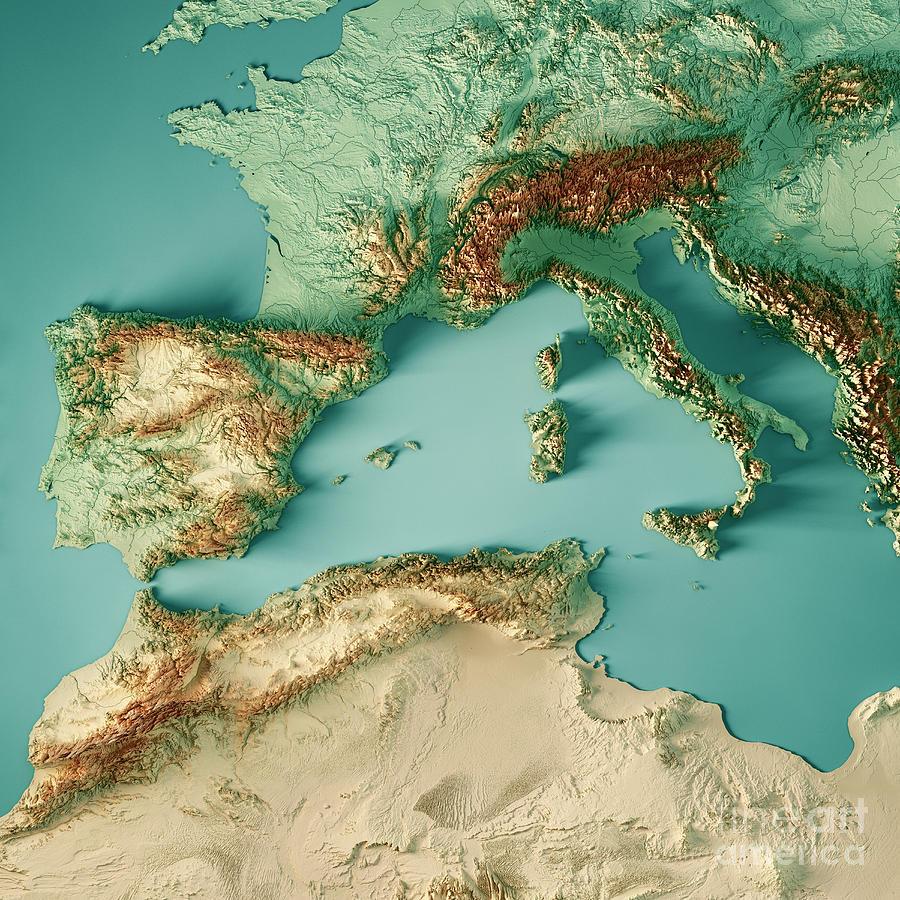 West Mediterranean Sea 3d Render Topographic Map Color Digital ...