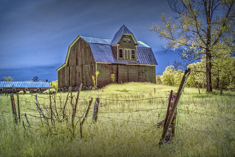 West Michigan Barn With Barb Wire Fence In Infrared ...