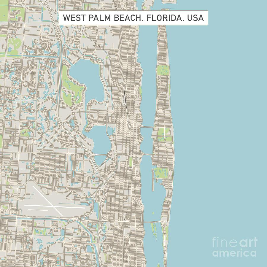 West Palm Beach Florida Us City Street Map Digital Art By Frank - Florida-us-map